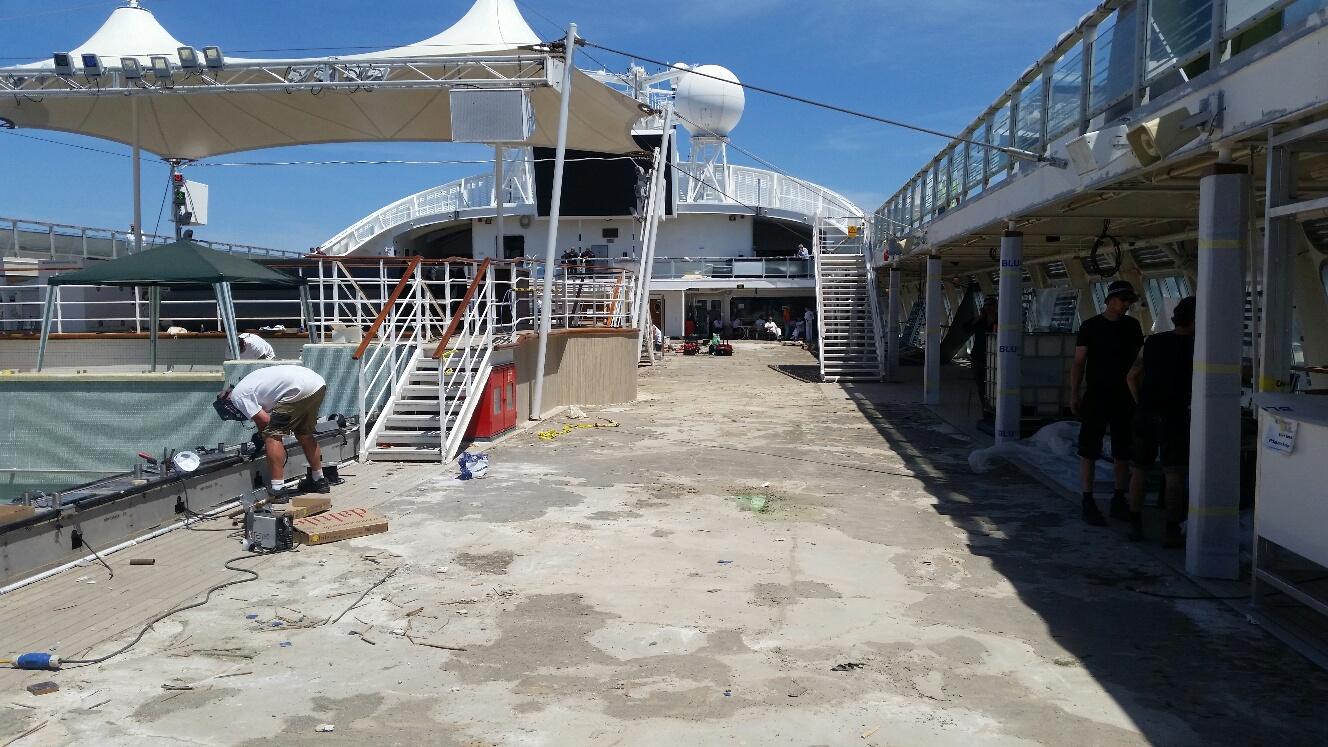 Pacific Dawn Pool Deck Refit Blu Marine Ship Outfitting