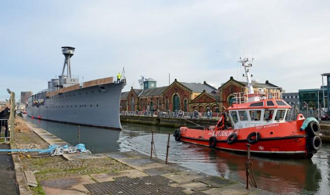HMS Caroline moved to drydock